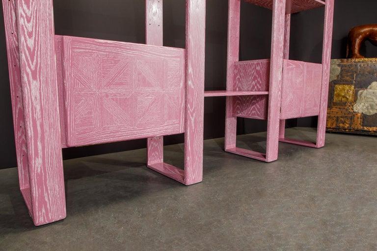Pink Cerused Oak Modular Bookcase Room Divider by Lou Hodges, 1970s  For Sale 13