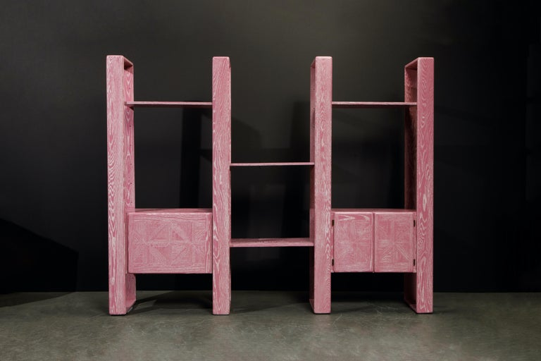 This absolute show-stopper modular bookcase refinished in gorgeous pink cerused oak is by Lou Hodges, designed and produced in California in the 1970s. You can configure this modular set in so many ways, also we have additional sections and shelves