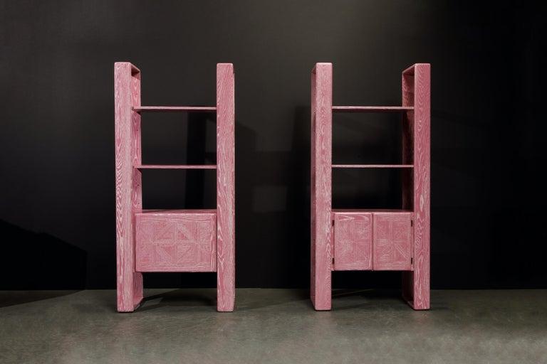 Modern Pink Cerused Oak Modular Bookcase Room Divider by Lou Hodges, 1970s  For Sale