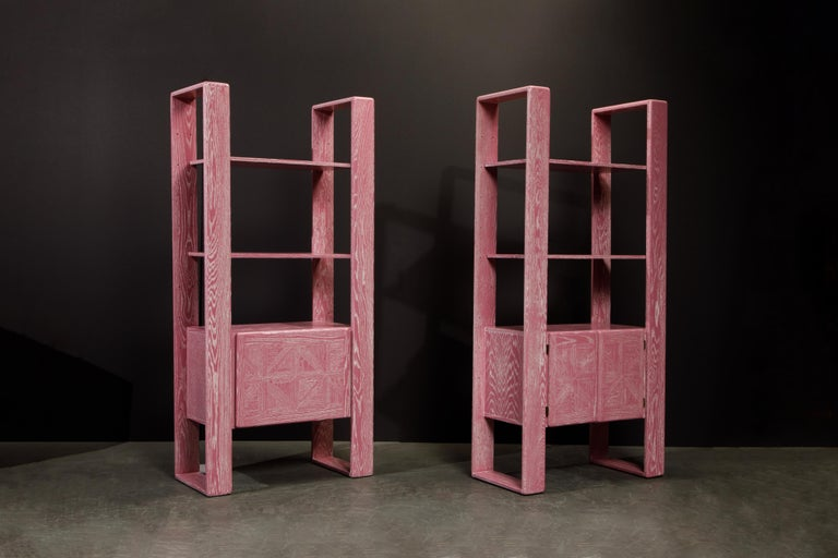 American Pink Cerused Oak Modular Bookcase Room Divider by Lou Hodges, 1970s  For Sale