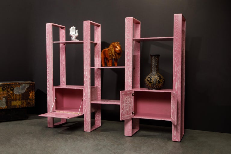 Pink Cerused Oak Modular Bookcase Room Divider by Lou Hodges, 1970s  In Excellent Condition For Sale In Los Angeles, CA