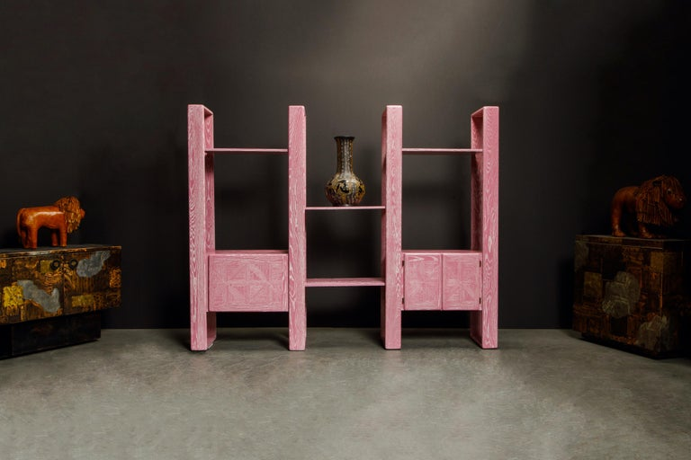 Late 20th Century Pink Cerused Oak Modular Bookcase Room Divider by Lou Hodges, 1970s  For Sale