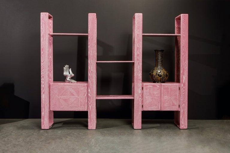 Pink Cerused Oak Modular Bookcase Room Divider by Lou Hodges, 1970s  For Sale 1