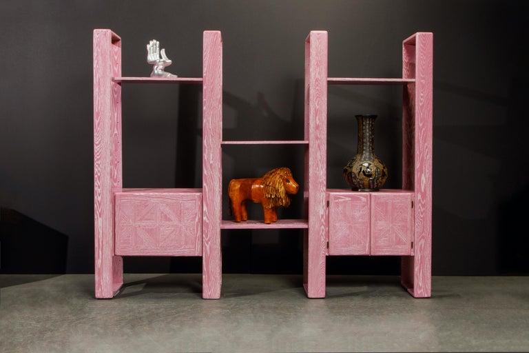 Pink Cerused Oak Modular Bookcase Room Divider by Lou Hodges, 1970s  For Sale 2