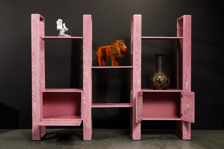 Pink Cerused Oak Modular Bookcase Room Divider by Lou Hodges, 1970s  For Sale 3