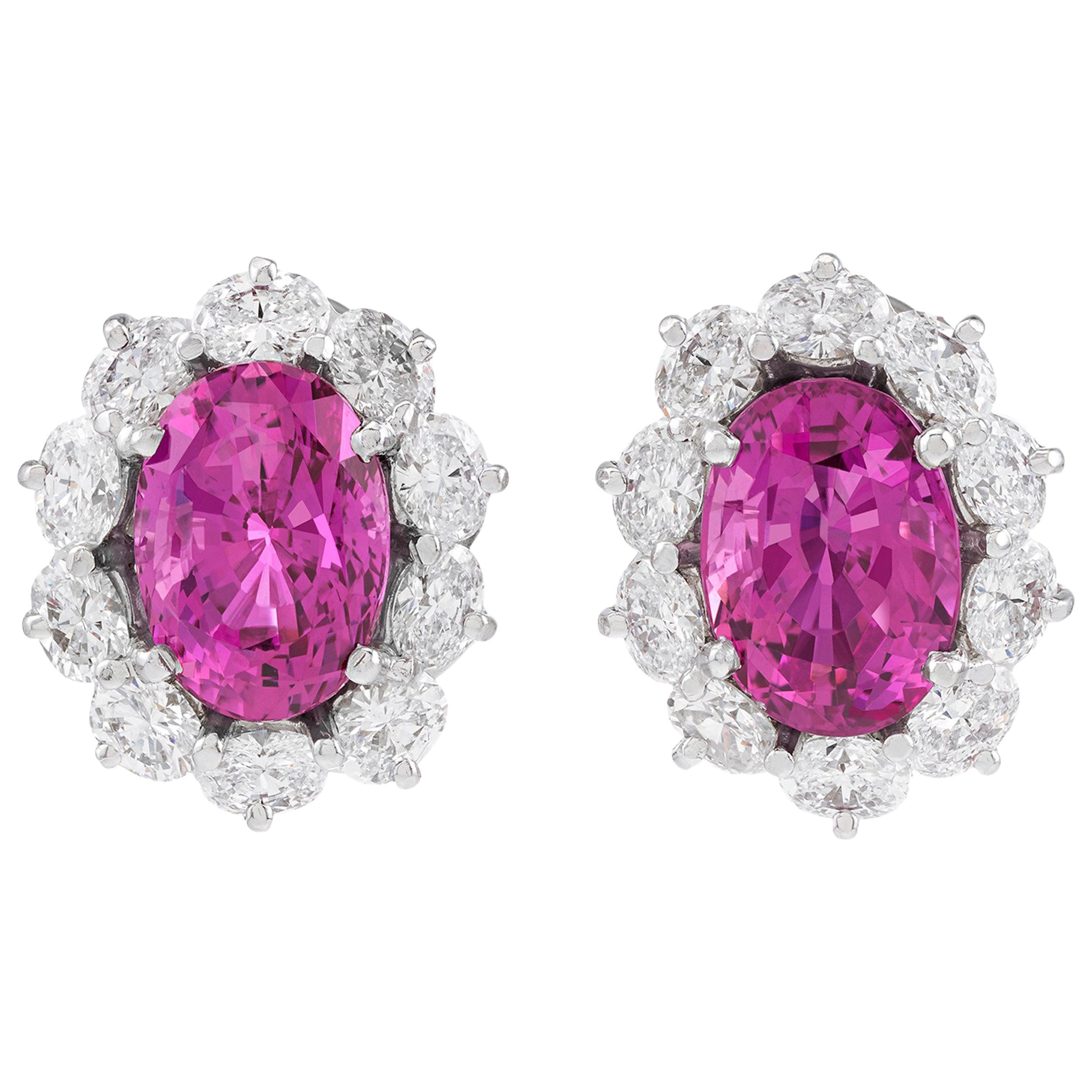 Pink Ceylon Sapphire and Diamond Earrings