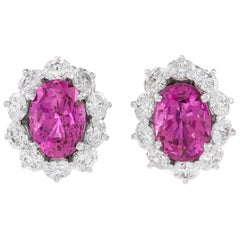 Pink Ceylon Sapphire and Diamond Earrings