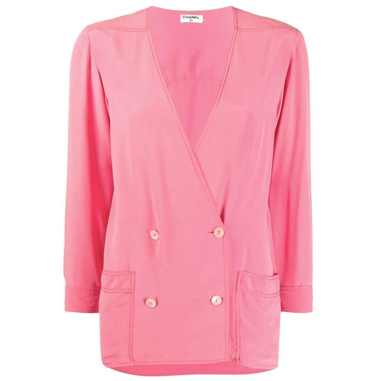 Pink Chanel Silk Soft Jacket For Sale