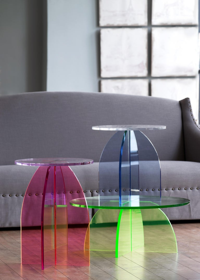 This is Carnevale Studio's first acrylic collection of tables. Shown first on 1stdibs!   This collection consist of a Coffee Table, Side Table & Bedside Table.  Jessica had been working with glass and it was these experiments (making her first neon
