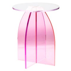 Pink Circular Acrylic Bedside Tables, Sheer by Carnevale Studio