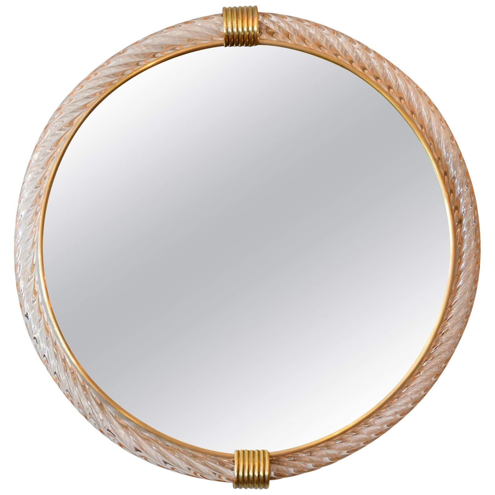 Pink Circular Murano Twisted Rope 'Firenze' Wall Mirror in the Style of Barovier