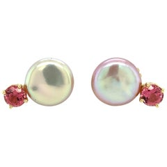 Pink Coin Freshwater Pearl and Pink Tourmaline Drop Earrings