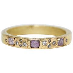 Pink Color Diamonds 18 Karat Gold Alternative Engagement Bridal Handmade Ring