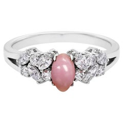 Pink Conch Pearl and Marquise Diamond and Round Diamond Engagement Ring