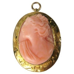 Pink Coral 10 Karat Gold Cameo Pendant Brooch, Antique
