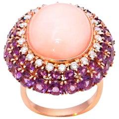Pink Coral Amethyst Diamonds 18 Karat Yellow Gold Cocktail Ring