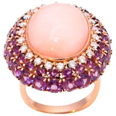 Pink Coral Amethyst Diamonds 18 Karat Yellow Gold Cocktail Ring