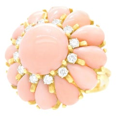 Pink Coral and Diamond-Set Gold Ring