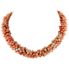 Pink Coral Beaded, 18 Karat Yellow Gold Necklace