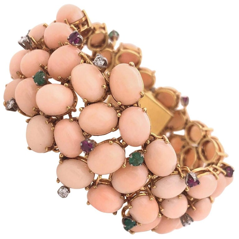 Pink Coral, Diamond, Emerald, Ruby 1960s Bracelet For Sale