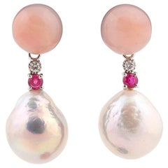 Diamond Ruby and Baroque Pearl Earrings