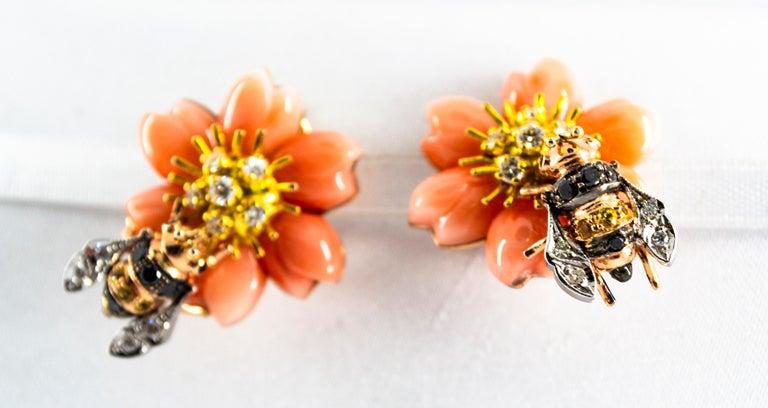 Art Nouveau Pink Coral Diamond Yellow Sapphire Yellow Gold