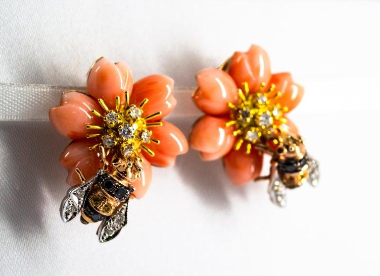 Brilliant Cut Pink Coral Diamond Yellow Sapphire Yellow Gold