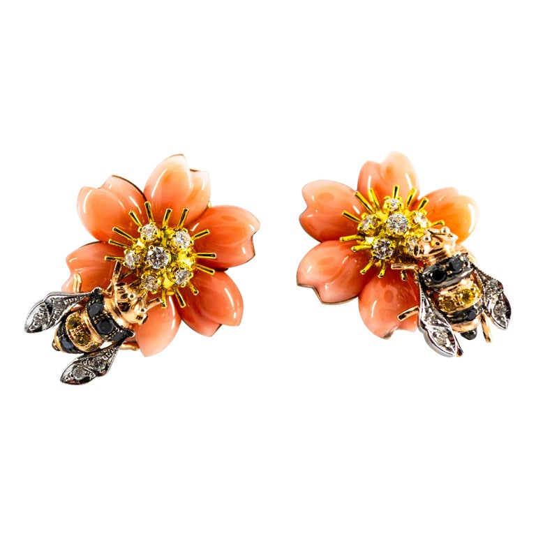 """Pink Coral Diamond Yellow Sapphire Yellow Gold """"Bee on Flower"""" Clip-On Earrings For Sale"""