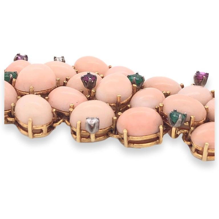 Women's or Men's Pink Coral, Diamond, Emerald, Ruby 1960s Bracelet For Sale