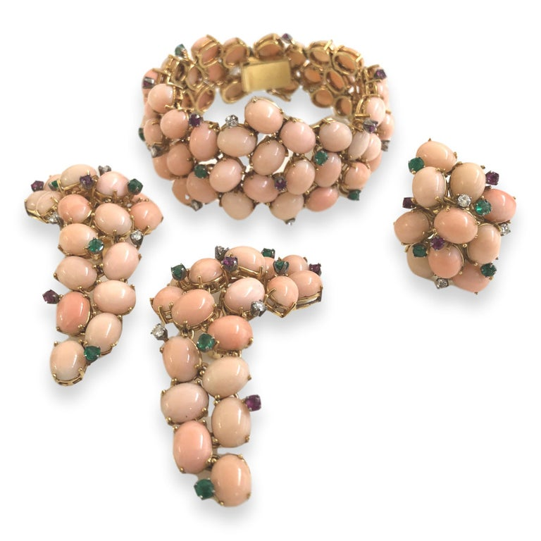 Pink Coral, Diamond, Emerald, Ruby 1960s Bracelet For Sale 2