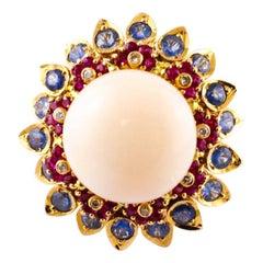 Pink Coral, Diamonds, Sapphires, Rubies, 14 Karat Rose Gold Vintage Ring