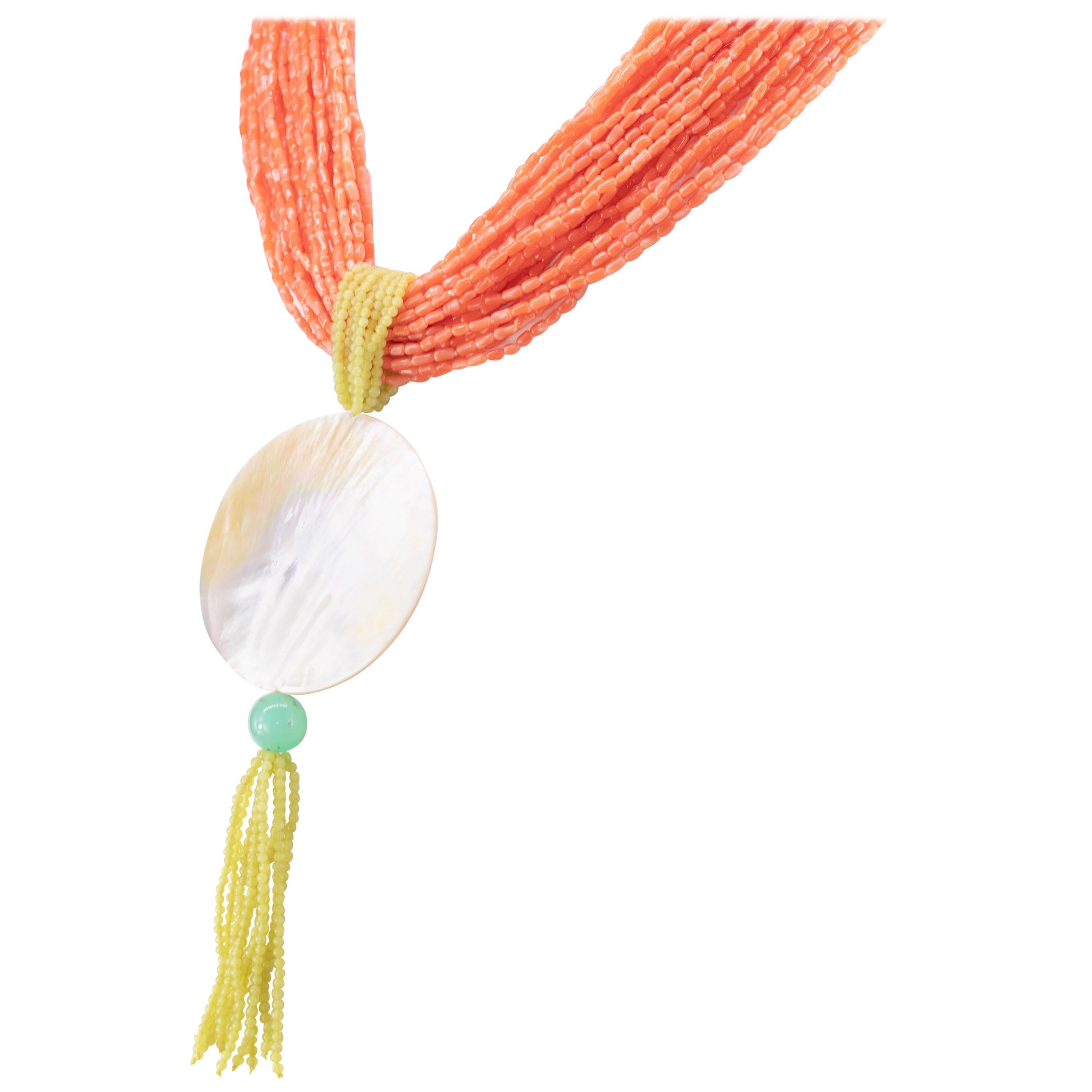 Pink Coral Jade Mother of Pearl Pendant Chrysoprase Craft Multi Strand Necklace