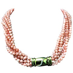Pink Coral Multi-Strand Necklace 0.10 Carat Diamonds 18 Karat Gold, Italy, 1980s