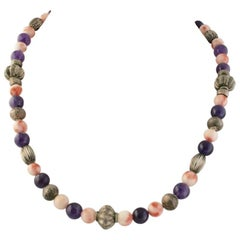 Exolette Pink Coral Purple Amethyst and Patterned Silver Necklace