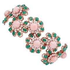 Pink Coral, Emeralds, Diamonds, 18 Karat Rose Gold Bracelet