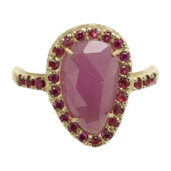 Pink Corundum Sliced Gem & Red Sapphires Ring 14 Karat Gold Vintage Red Ring