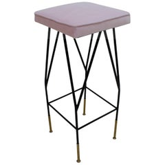 Pink Cotton Velvet and Black Lacquered Metal Italian Stools