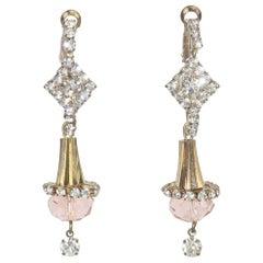 Pink Crystal & Rhinestone Drop Earrings