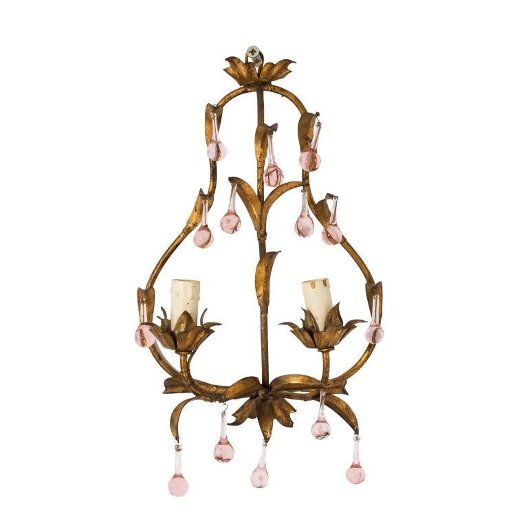 Unknown Antique French Crystal Sconces with Pink Crystals For Sale