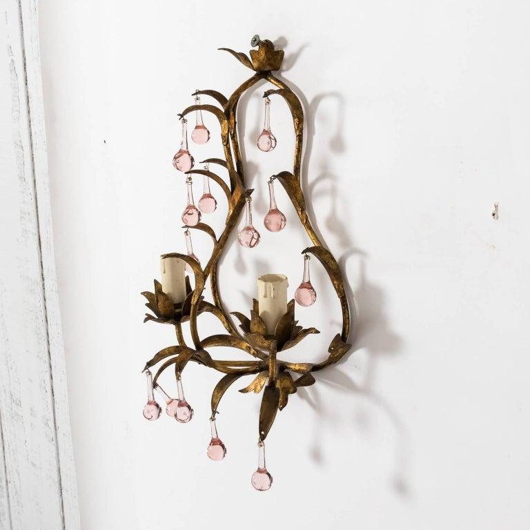 Antique French Crystal Sconces with Pink Crystals For Sale 2