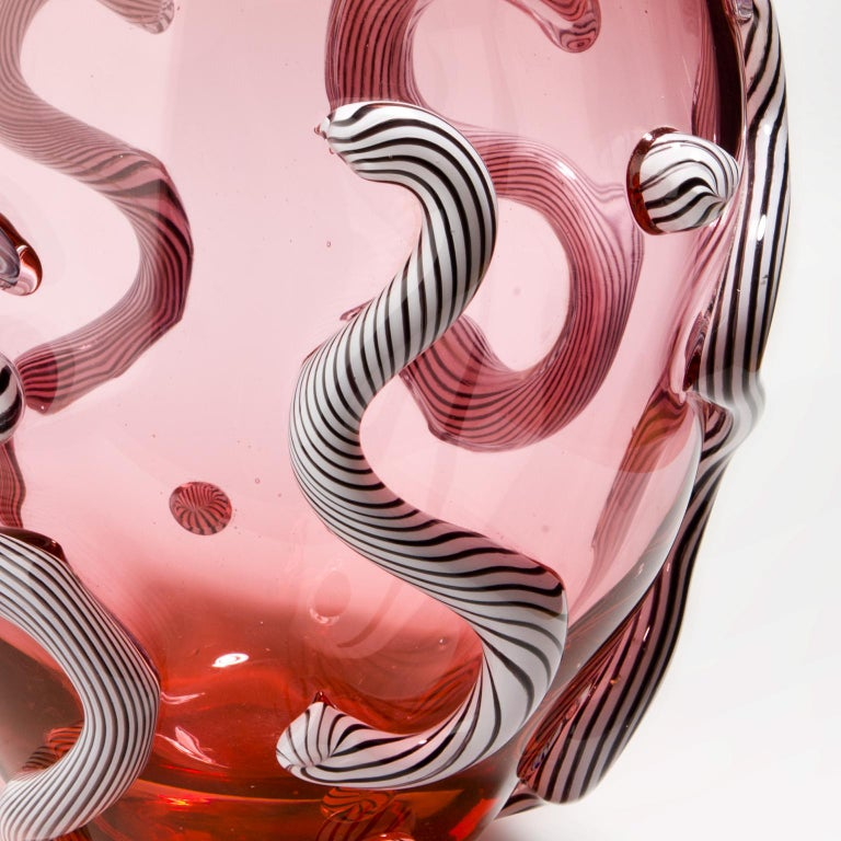 Modern Glass object. Pink Curls For Sale
