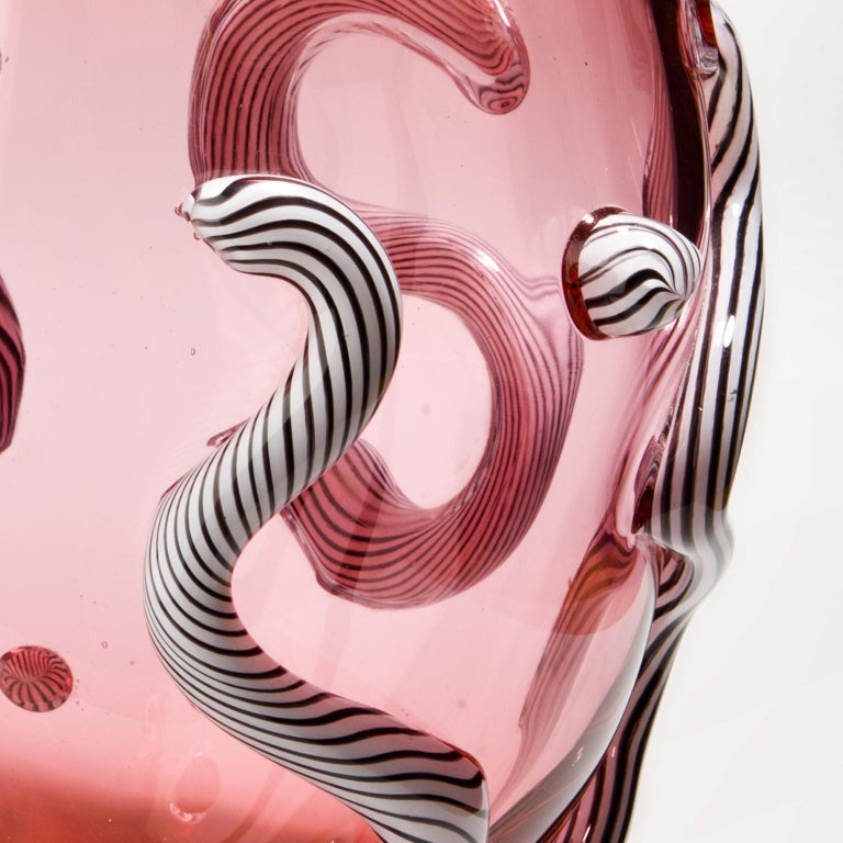 Contemporary Glass object. Pink Curls For Sale