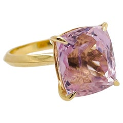 Pink Cushion Cut Kunzite Ring with Pink Sapphire Set in 18ct Yellow Gold