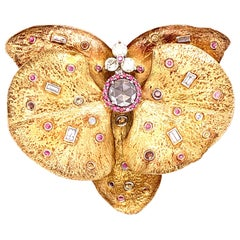 """Pink Diamond and White Diamond Gold-Plated Silver """"Butterfly"""" Brooch"""