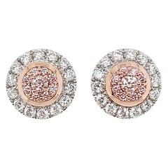 Pink Diamond and White Diamond Stud Earrings in Platinum and 18 Karat Pink Gold