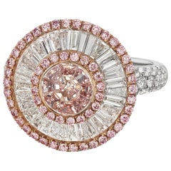 Pink Diamond Cluster Ring
