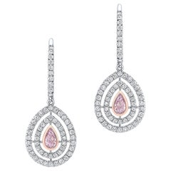 Pink Diamond Earrings 0.46 Carat GIA Certified