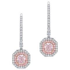 Pink Diamond Earrings 1.70 Carat GIA Certified