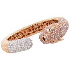 Pink Diamond Pave and Emerald Braided Panther Bangle