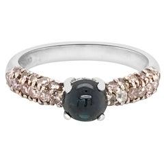 Pink Diamond Platinum Ring with Blue Sapphire